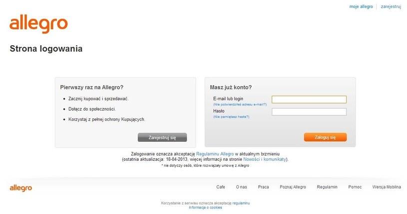 Oryginalna strona logowania do serwisu Allegro.pl. Ta usługa jest bezpieczna /materiały prasowe