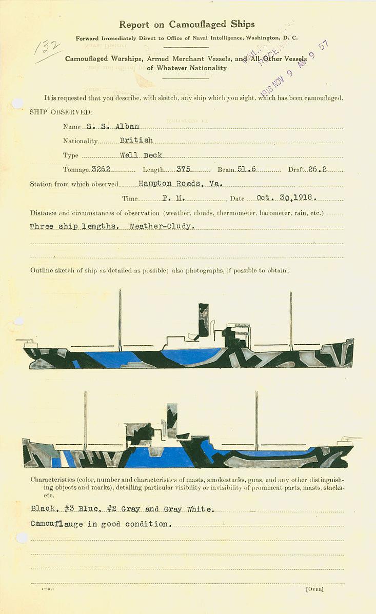"""Oryginalny dokument z 1918 roku z wzorem malowania SS """"Alban"""" /Wikimedia Commons /INTERIA.PL/materiały prasowe"""