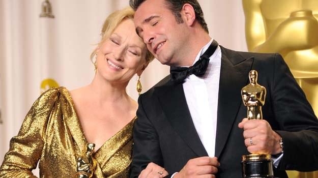 """Oscary dla najlepszych aktorów odebrali: Meryl Streep (""""Żelazna dama"""") i Jean Dujardin (""""Artysta"""") /Getty Images/Flash Press Media"""