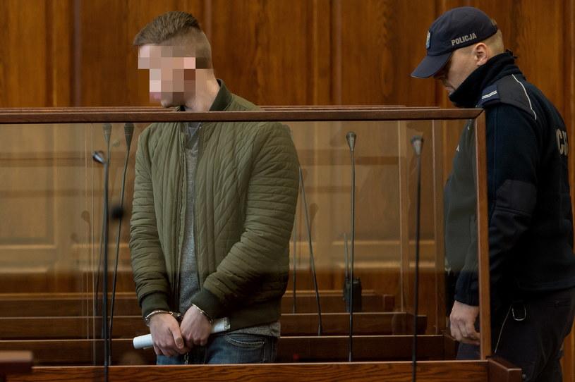 Oskarżony Paweł R. na sali rozpraw /Maciej  Kulczyński /PAP