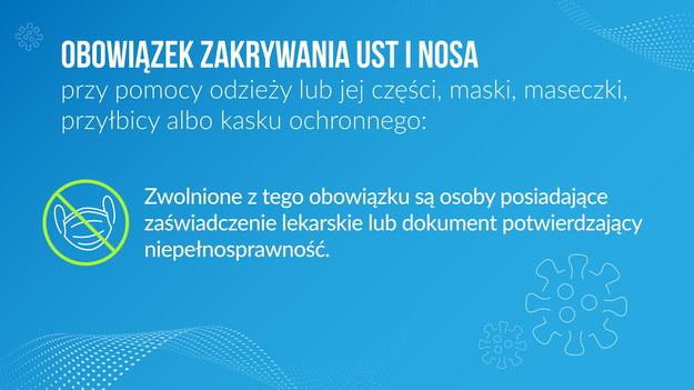 Osoby bez maseczki muszą dysponować zaświadczeniem lekarskim /Ministerstwo Zdrowia /