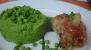 Ostatni przepis przed wakacjami – polędwica w szynce, purée z zielonego groszku.