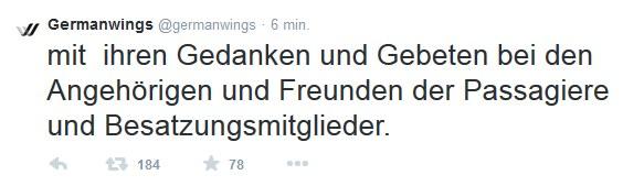 Ostatni wpis Germanwings na Twitterze /Twitter