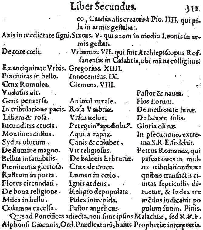 Ostatnia część Przepowiedni Malachiasza w Lignum Vitae (1595) /materiały prasowe
