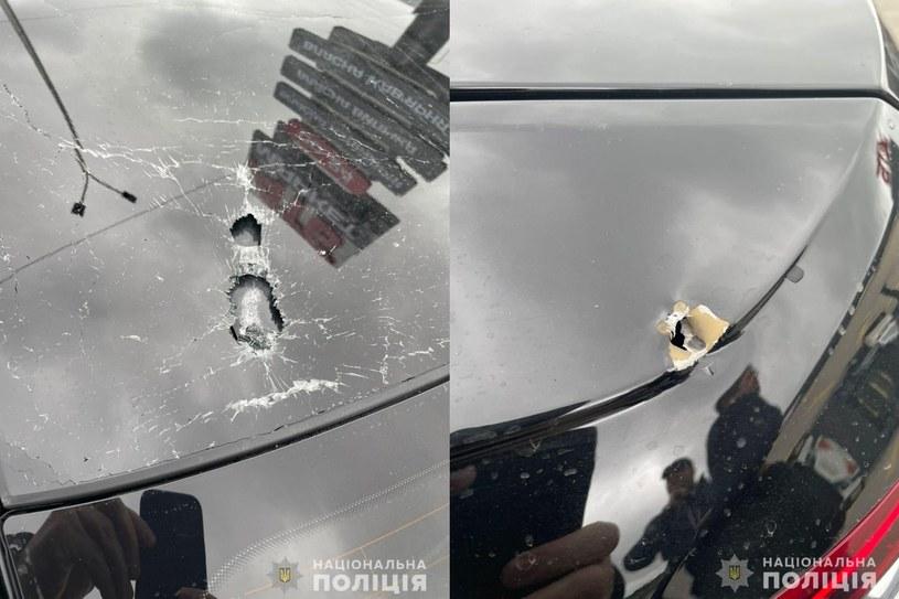Ostrzelany samochód pomocnika prezydenta /Policja Narodowa Ukrainy /materiały prasowe