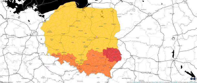 Ostrzeżenia IMGW przed intensywnymi opadami śniegu /meteo.imgw.pl/OpenStreetMap /