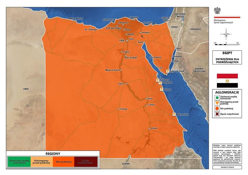 Ostrzeżenie MSZ dotyczące Egiptu, fot. msz.gov.pl /