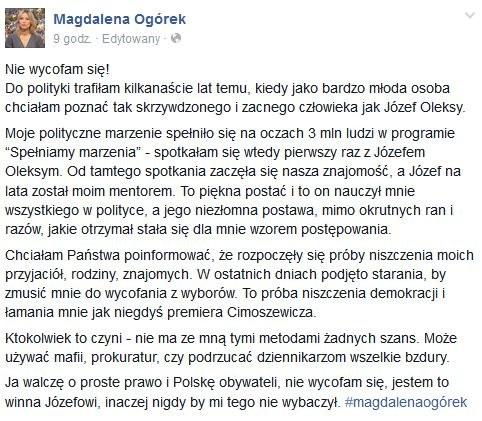 Oświadczenia Magdaleny Ogórek pojawiło się na Facebooku /