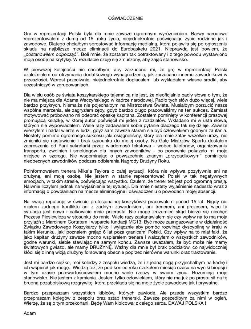 Oświadczenie Adama Waczyńskiego /