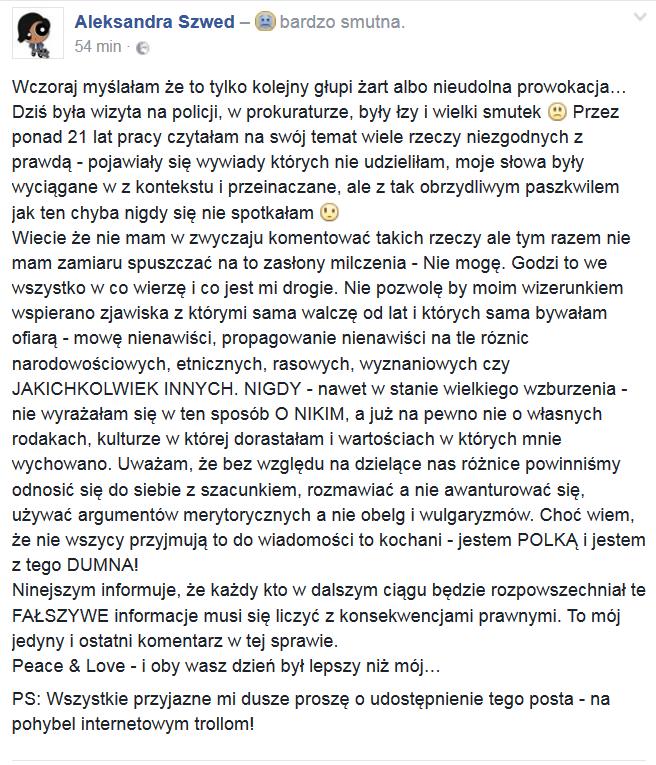 Oświadczenie Aleksandry Szwed /Styl.pl