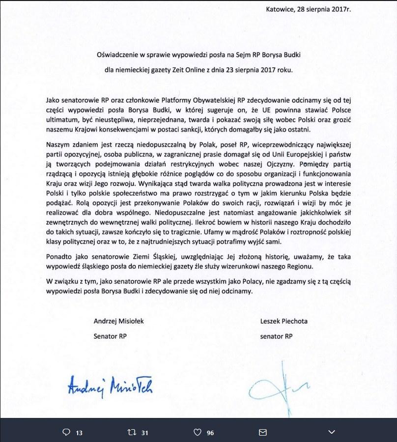 Oświadczenie Andrzeja Misiołka i Leszka Piechoty /Twitter