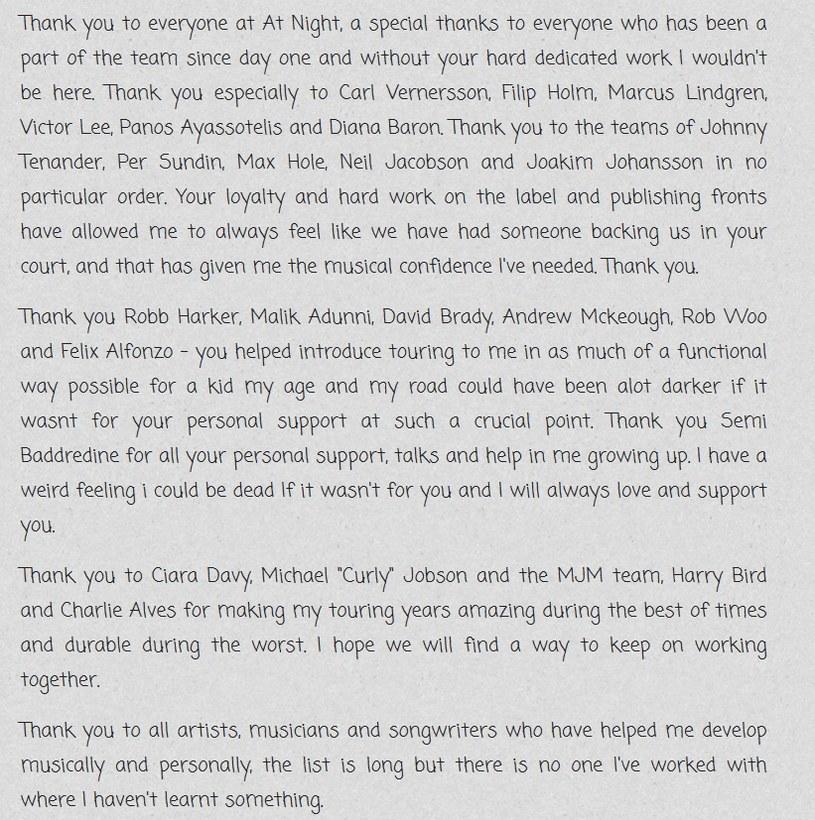 Oświadczenie Avicii'ego /oficjalna strona wykonawcy