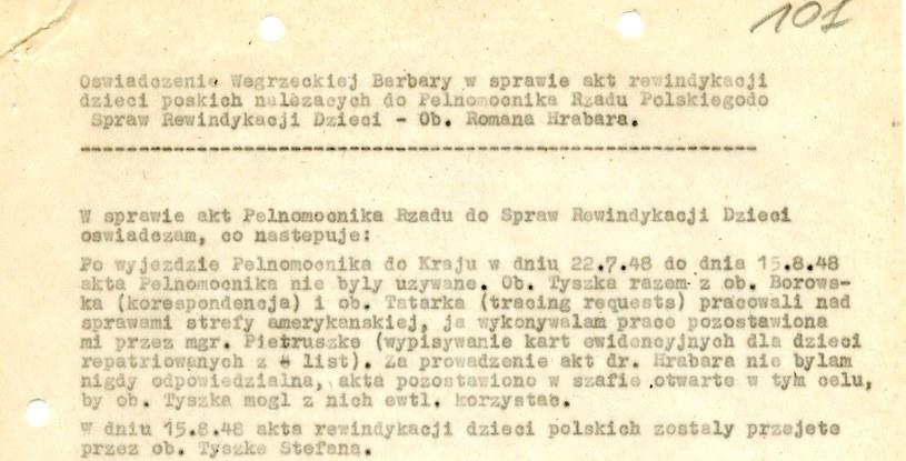 Oświadczenie Barbary Węgrzeckiej z dnia 2.12.1948 r. Dokument znajduje się w Archiwum Akt Nowych /INTERIA.PL