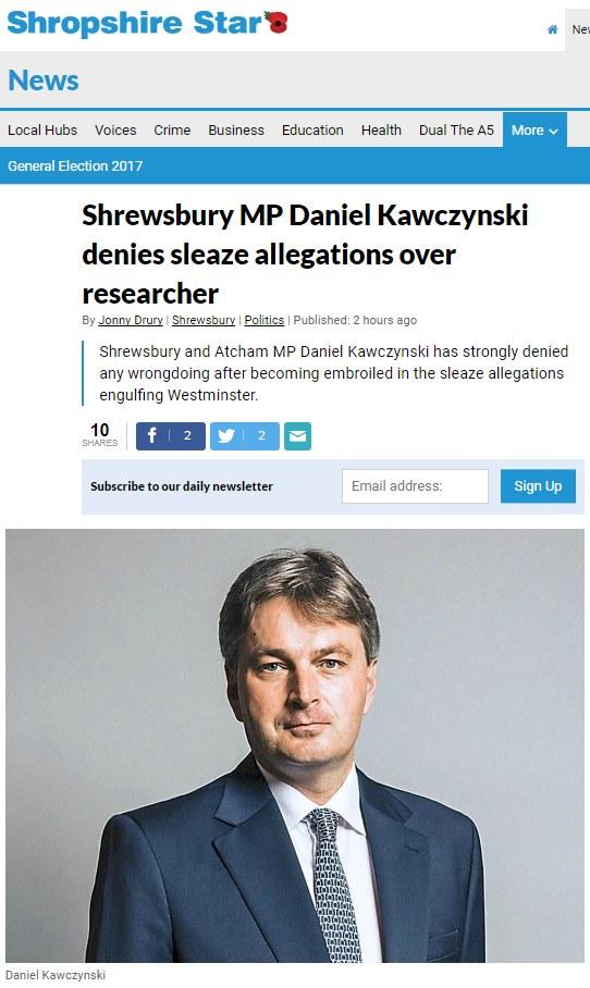 """Oświadczenie Daniela Kawczyńskiego na łamach """"Shropshire Star"""" /"""