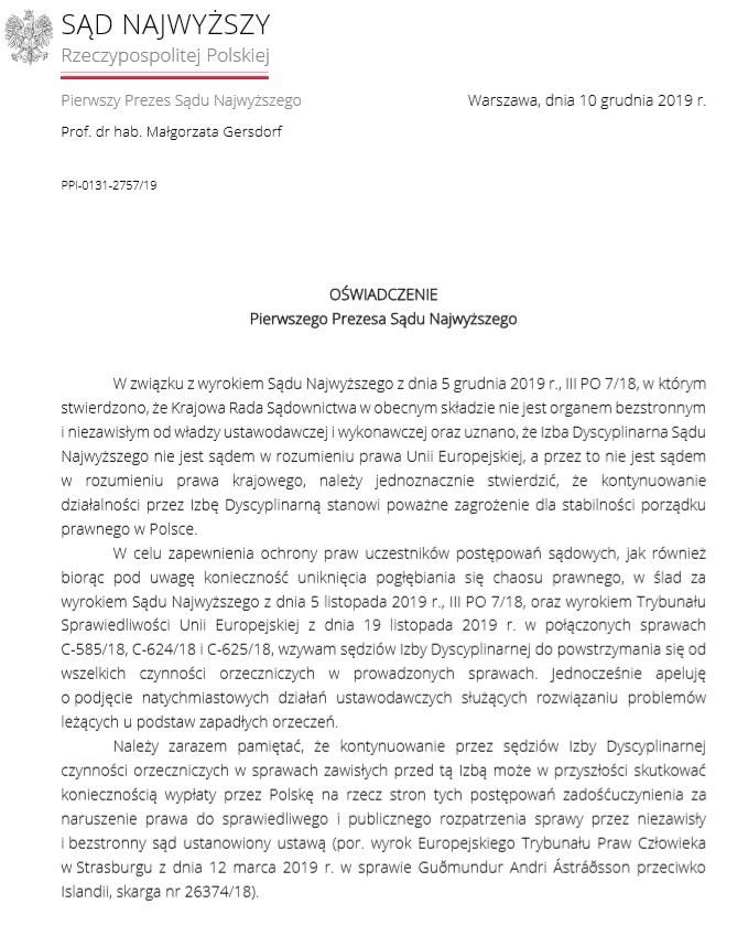 Oświadczenie I Prezesa Sądu Najwyższego /www.sn.pl /