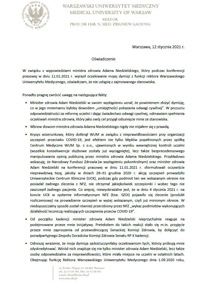 Oświadczenie JM Rektora prof. Zbigniewa Gacionga /