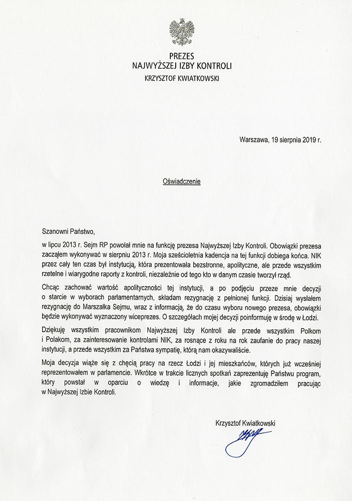 Oświadczenie Krzysztofa Kwiatkowskiego /NIK /