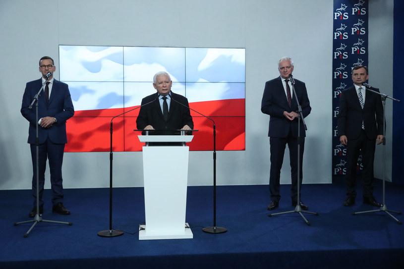 Oświadczenie liderów Zjednoczonej Prawicy /fot. Andrzej Iwanczuk/REPORTER /Reporter