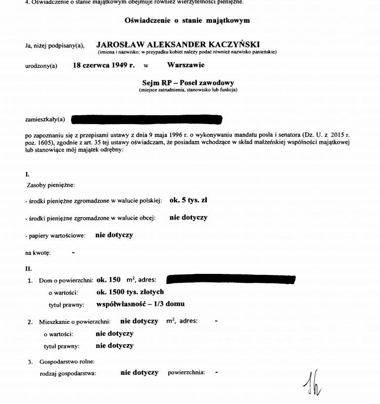 Oświadczenie majątkowe Jarosława Kaczyńskiego (źródło: Kancelaria Sejmu) /