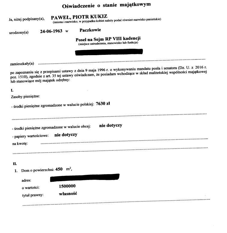 Oświadczenie majątkowe Pawła Kukiza (źródło: Kancelaria Sejmu) /