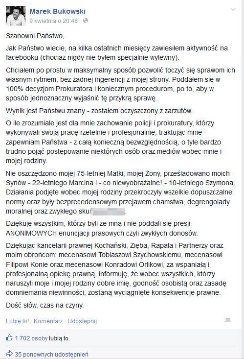 Oświadczenie Marka Bukowskiego opublikowane na Facebooku. /Facebook /internet