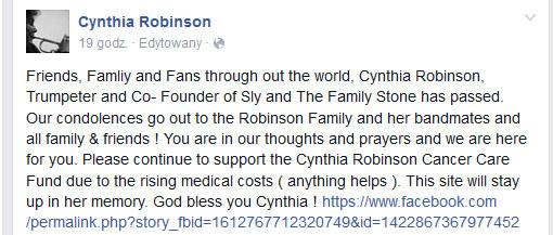 Oświadczenie na Facebooku Cynthii Robinson /