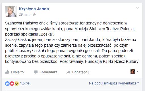 Oświadczenie na profilu Krystyny Jandy /Facebook