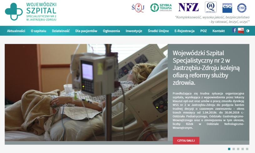 Oświadczenie na stronie szpitala w Jastrzębiu Zdroju /