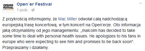 Oświadczenie Open'er Festivalu na Facebooku /