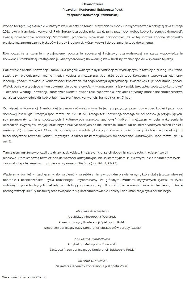 Oświadczenie prezydium KEP ws. konwencji stambulskiej /materiały prasowe