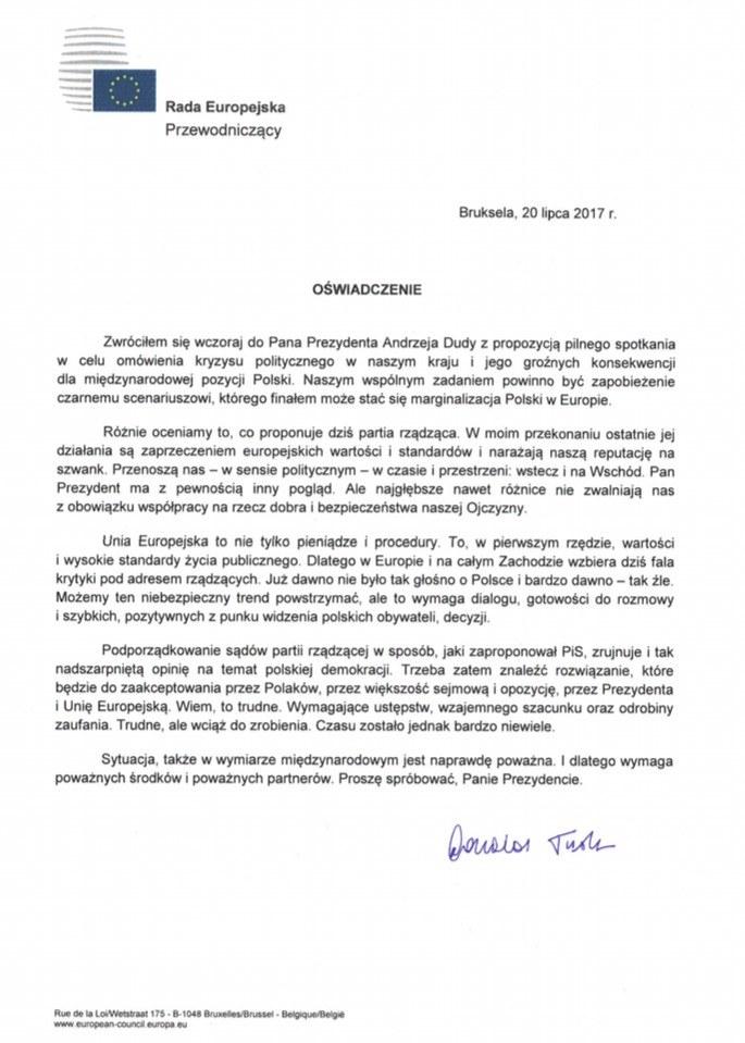 Oświadczenie przewodniczącego Rady Europejskiej Donalda Tuska /RMF FM