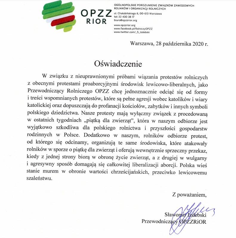 Oświadczenie Sławomira Izdebskiego /mat.prasowe /