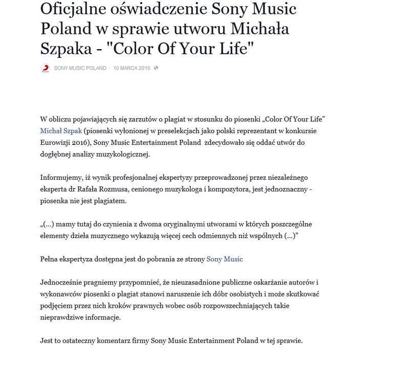 Oświadczenie Sony Music na Facebooku /