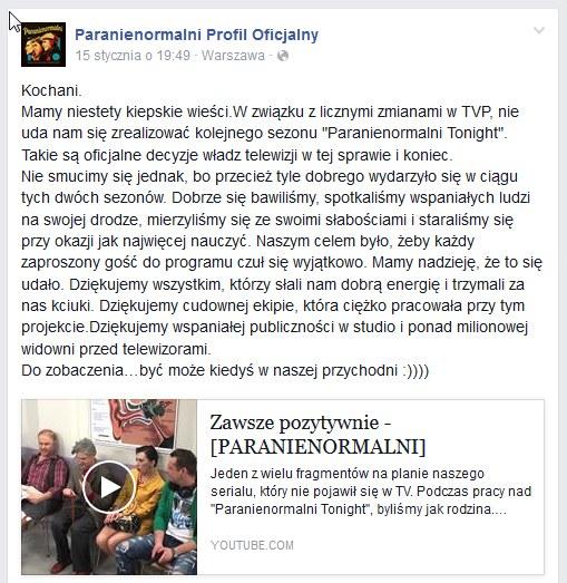 Oświadczenie twórców Kabaretu Paranienormalni /Facebook