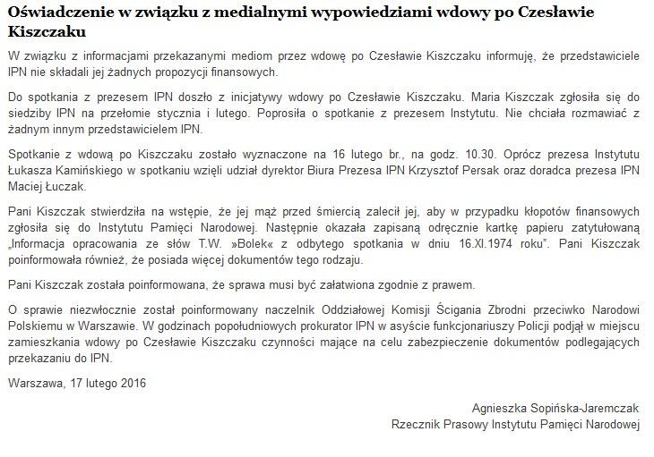 Oświadczenie w związku z medialnymi wypowiedziami wdowy po Czesławie Kiszczaku /źródło: IPN /