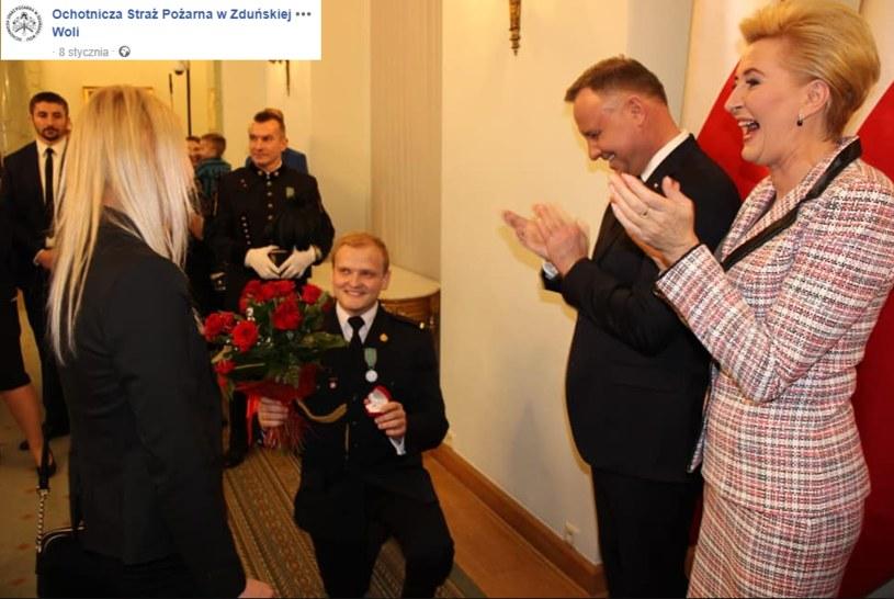 Oświadczyny w Pałacu Prezydenckim /OSP Zduńska Wola /facebook.com