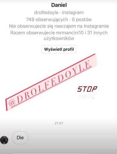 Oto jedna z wiadomości z życzeniami śmierci, którą otrzymała Marta Glik /Instagram / martaglik /Instagram