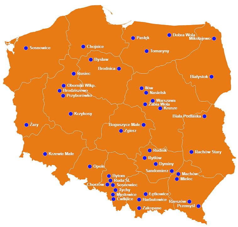 Oto mapa miejsc, biorących udział w naszej akcji /INTERIA.PL/materiały prasowe
