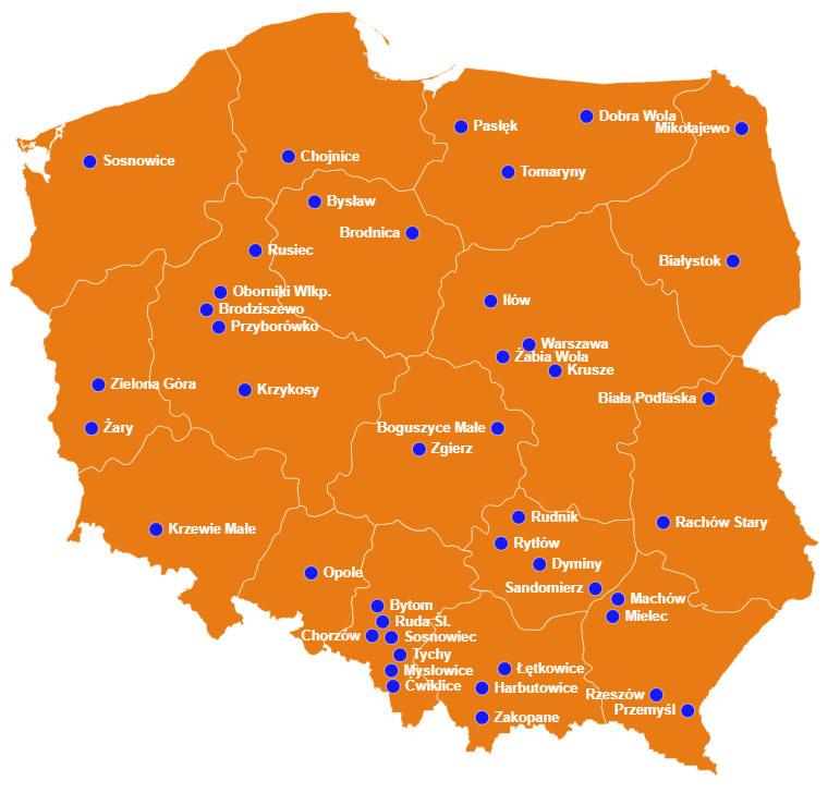 Oto mapa miejsc, którym możesz pomóc, biorąc udział w naszej akcji /INTERIA.PL
