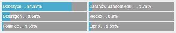 Oto szczegółowe wyniki głosowania: Dobczyce zdeklasowały konkurencję! /RMF 24 /Zrzut ekranu
