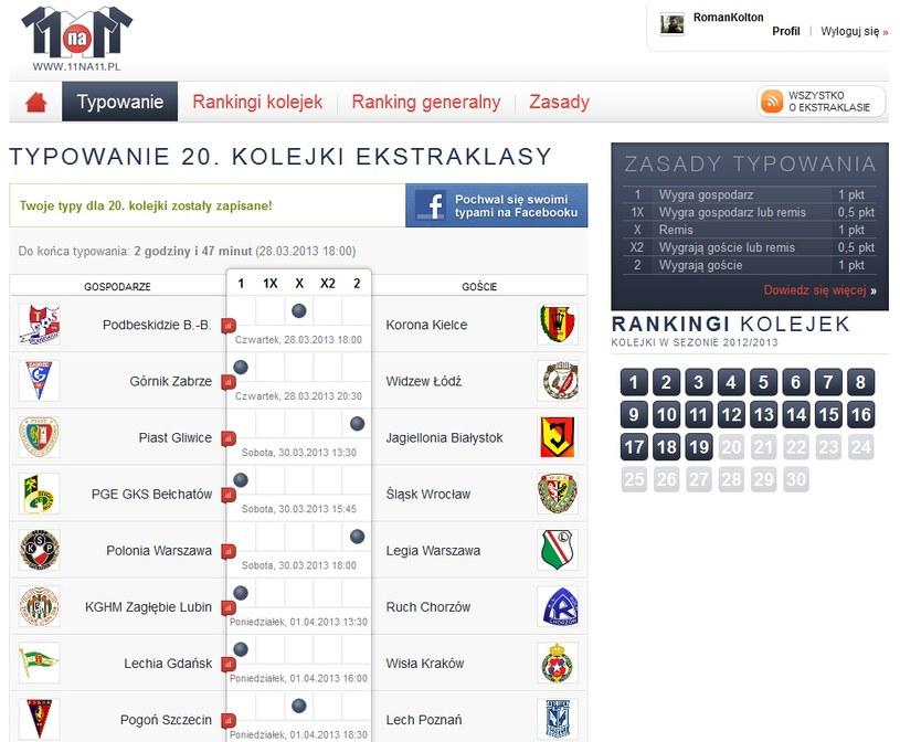 Oto typy Romana Kołtonia przed 20. kolejką T-Mobile Ekstraklasy /INTERIA.PL