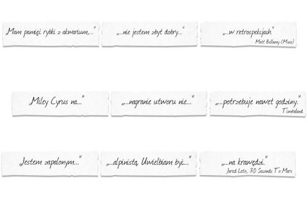 Oto wszystkie trzy kompletne cytaty, które ukryliśmy w naszym raporcie specjalnym na Coke Live /INTERIA.PL
