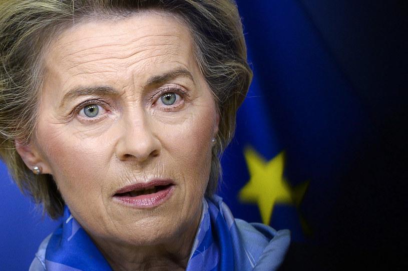 Otrzymaliśmy polski Krajowy Plan Odbudowy - napisała w poniedziałek wieczorem na Twitterze przewodnicząca Komisji Europejskiej Ursula von der Leyen /JOHANNA GERON /AFP