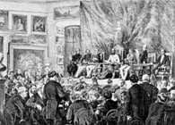 Otwarcie 1873 Akademii Nauk w  Krakowie, drzeworyt wg Juliusza Kossaka /Encyklopedia Internautica