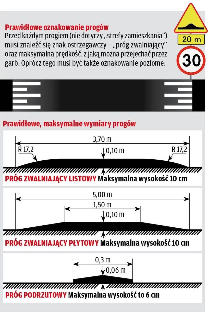 Oznakowanie i wymiary progów /Motor