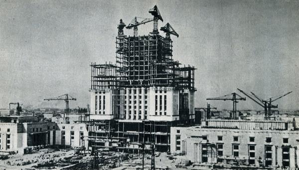 Budowa Pałacu Kultury i Nauki, lata 50