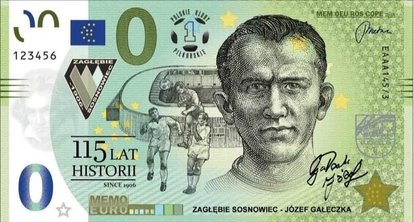 Pamiątkowy banknot z podobizną Józefa Gałeczki /archiwum Zagłębia Sosnowiec /INTERIA.PL