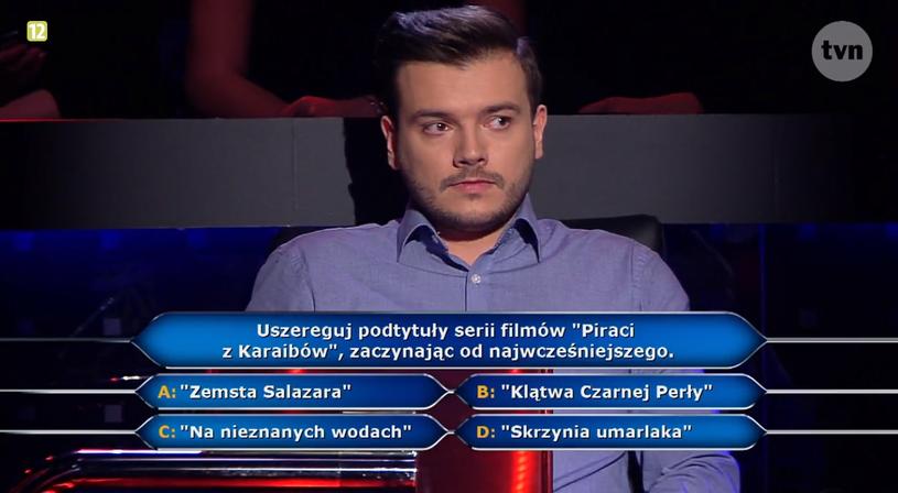 """Pan Szymon w """"Milionerach"""" i pytanie eliminacyjne /TVN"""