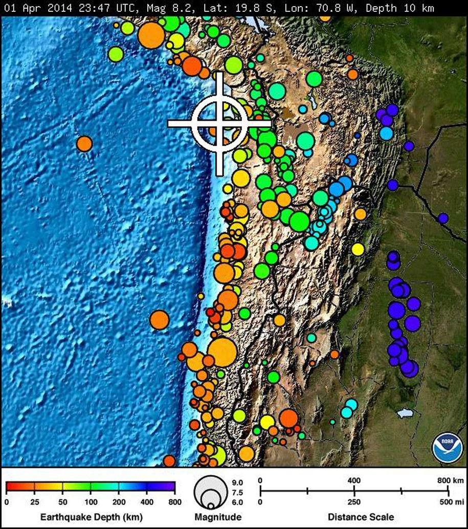Panamę nawiedziło trzęsienie ziemi o sile 5,8 w skali Richtera /NOAA    /PAP/EPA