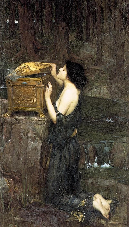 """""""Pandora"""" pędzla Johna Williama Waterhouse'a (1896). Nie tylko w Biblii, ale i w greckiej mitologii kobieta uchodzi za źródło zła i nieszczęść (domena publiczna) /Ciekawostki Historyczne"""